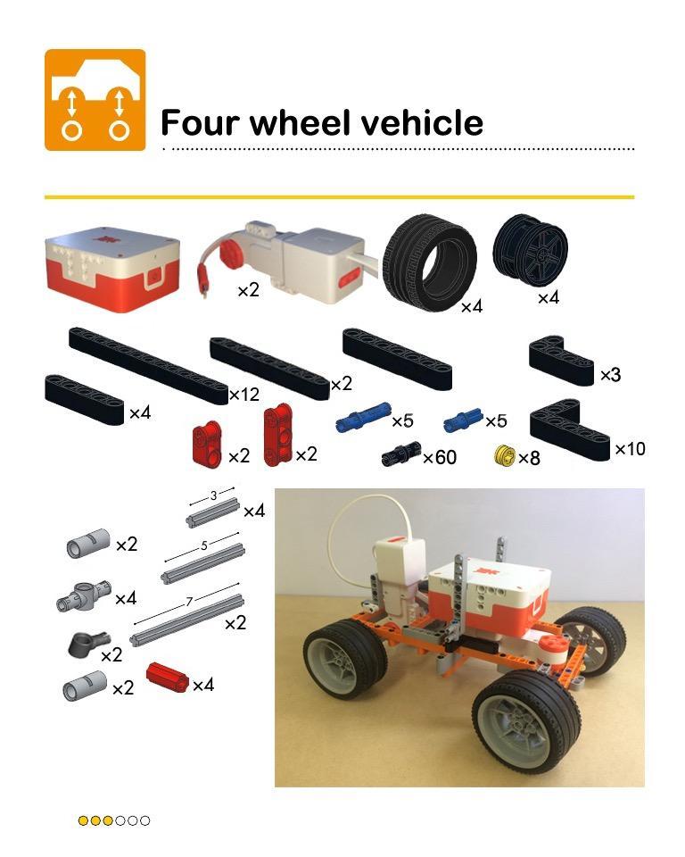 米兔积木机器人+乐高零件打造 米兔四轮小车,遥控转向